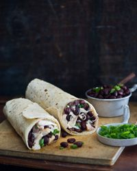 Chicken Burritos with Black-Bean Salsa and Pepper Jack Recipe