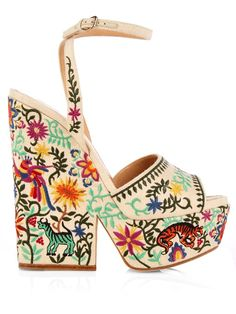 Cacoon Embroidered Wedge Sandals - $507 (64%Off)