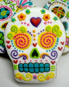 dia de los muertos - day of the dead - sugar skull cookies.  I don't think the recipe is attached, but it would be fun to make these with any sugar cookie recipe.