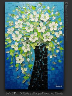 Abstract Contemporary Fine Art Bouquet Vase White Flowers Blue Green Modern Palette Knife Impasto Textured Painting by Susanna