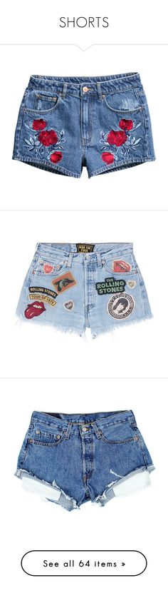 """SHORTS"" by teenage-girl-documentary on Polyvore featuring shorts, bottoms, pants, blue, h&m shorts, denim shorts, blue shorts, blue denim shorts, short and rolled shorts"
