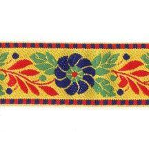 "Yellow Floral Folk Costume Trim ~ Czech Republic ~ 1"" wide ~ Polyester Folk Costume, Costumes, Fringe Braid, Vintage Ornaments, Czech Republic, Ribbons, Craft Supplies, Kids Rugs, Yellow"