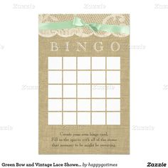 Green Bow and Vintage Lace Shower Bingo Stationery