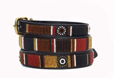 Topi Beaded Kenyan Dog Collar - The beading is done by Maasai Mamas working in their home area. Averaging one collar per day, the mamas create these original, one-of-a-kind designs.
