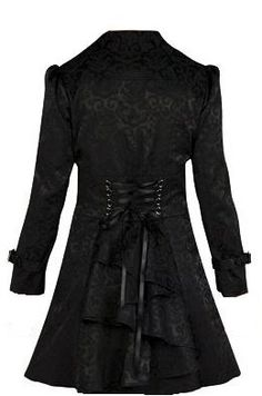 The Corset Back Trenchcoat is now available in a black jaquard! Sizes S-4X! Available at GoodGoth.com