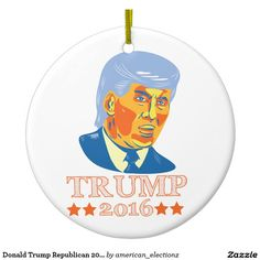 Hang Trump ornaments from Zazzle on your tree this holiday season. Donald Trump Republican, John Trump, Presidential Candidates, Holiday Traditions, Personality, Real Estate, Ornaments, American, Illustration