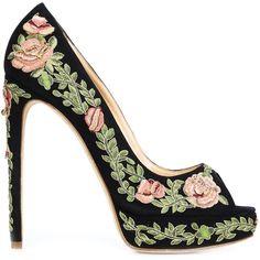 Marchesa 'Rose' pumps ($2,555) ❤ liked on Polyvore featuring shoes, pumps, black, platform pumps, black open toe pumps, black stilettos, floral print shoes and open-toe pumps