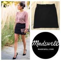 """Madewell black ponte mini skirt You're looking at a gently used Madewell mini skirt in size small.  Black, with ponte type fabric, ribbing along waist and down sides.  There's also mesh detail at waist. Super cute!  The last pic is with the flash so you can see the detail, but the skirt is black... No fading, holes, etc. length down the side hip is about 18"""". offers bundles PayPal trades Madewell Skirts Mini"""