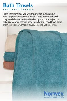 Norwex Bath Towel Lightweight, soft, supple and super absorbent. Dries very quickly. Available in two sizes (L & XL). For drying, a patting motion is recommended when using the microfiber towel Use for: * Drying hands * Drying Body * Drying Hair * Exfoliating dead skin www.victoriareeve.norwex.biz