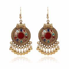 a76f871ffd47 Vintage Ear Drop Earrings Round Geometric Beads Tassels Dangle Earrings  Ethnic Jewelry for Women