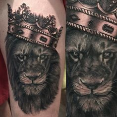 Lion and crown tattoo by Lou Bragg