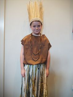 Grassland costume for The Lion King Junior musical production. Created by Sally Gregory at Canadian Lead Primary School.
