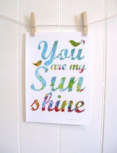 Ryans/Guest Bathroom Theme- You Are My Sunshine  Print birds by KathyPanton on Etsy, $16.00