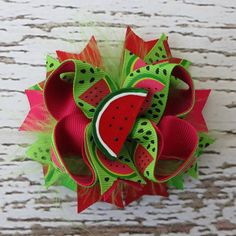 Watermelon Hair Bow  Stacked Boutique Hair Bow by AddysAtticOnEtsy, $7.00    Would be super cute for the Watermelon Picnic mini sessions!