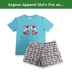 Aegean Apparel Girl's Fox and Friends Printed T-shirt and shorts PJ Set, Turquoise, Polyester Jersey Knit, S-XL (L (12)). Perfect for your little one's bedtime & sleepovers, she'll love to get cozy in this super cute Fox and Friends Printed T-shirt and shorts PJ Set by Aegean Apparel! Shes going to love sleeping in her adorable Fox and Friends T-Shirt and Shorts PJ set. Comfort and fashion all rolled into one. This product complies with the Children's Sleepwear Standard under the…