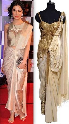 Saree gown in champagne color by Rakesh aggarwal Indian Gowns Dresses, Pakistani Dresses, Ethnic Outfits, Indian Outfits, Saree Gown, Lehenga, Contemporary Dresses, Stylish Sarees, Fashion Show