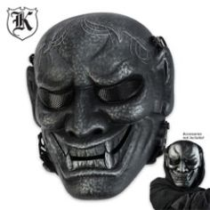 ABS Samurai Warrior Skeletal Facemask Silver & Black