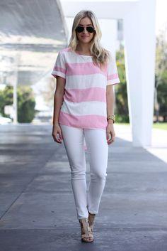Pink and White Top from Jane.com #veryjane // Ashley Guyatt: Polka Dots & Sailors Tripes Blog