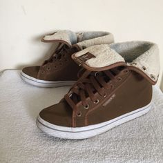a4c28c20ccf840 Women s ADIDAS Honey Hi Tops Brown Faux Suede Fold Down Trainers Size 5  Shoes