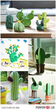 χειροτεχνιες κακτοι για παιδια - cacti crafts for kids