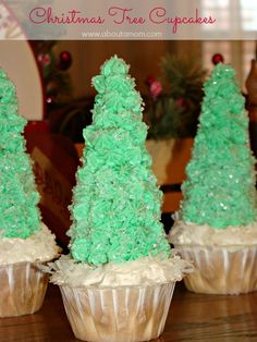 These Christmas Tree Cupcakes will be the centerpiece of your holiday dessert table. Made with Truvia Baking Blend for healthier holidays. Christmas Tree Cupcakes, Christmas Candy, Simple Christmas, Christmas Time, Christmas Ideas, Magical Christmas, Christmas Goodies, Holiday Ideas, Christmas Crafts