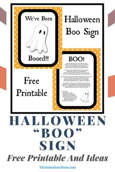 """Halloween is about sharing some delicious candies and scaring your neighbors! Spread the spooky happiness with these free printables. Check out the blog for more details on these Halloween """"Boo"""" Sign Free Printable And Ideas! In need of some Halloween activities? Check out the blog for some special festive ideas such as Halloween decorations, party food ideas, Halloween trinkets, Halloween crafts, Halloween activities and more! Happy booing, my dear friends! #DIYcrafts #DIYactivities Halloween Crafts For Kids, Halloween Boo, Holidays Halloween, Halloween Decorations, Party Activities, Halloween Activities, Boo Sign, Halloween Traditions, Dear Friend"""