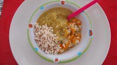 Kaša z kamutu, karfiol, petržlen, mrkva, petržlenová vňať a kuracie mäso