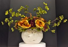 Fall 2014 Season Floral: Rose, Mum and Hydrangea mix with Apple blossom branches on white ceramic owl vase. Original design and arrangement by http://nfmdesign.synthasite.com/