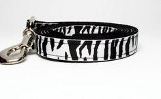 Black and White Zebra  dog Leash 3/4 wide 4 5 by KibblesandCollars