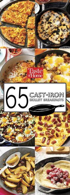 70 Cast-Iron Skillet Breakfast Recipes Get out of bed, then get out your trusty cast-iron skillet. You'll be re-creating our must-have skillet breakfasts in no time. - 65 Breakfasts You Can Make in a Cast-Iron Skillet Cast Iron Skillet Cooking, Iron Skillet Recipes, Cast Iron Recipes, Cast Iron Pancake Recipe, Cooking With Cast Iron, Skillet Food, Skillet Pan, Skillet Dinners, Camping Desserts