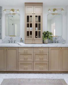 Beige Cabinets, Staining Cabinets, Oak Bathroom Vanity, Master Bathroom, Bathroom Cabinets, White Oak Kitchen, Master Bath Remodel, Bathroom Inspiration, Bathroom Inspo