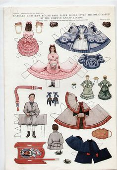 Vintage CAROLYN CHESTER ROUND-BASE Paper Dolls 1913 Deco/Sterling Twins in 1860 | eBay