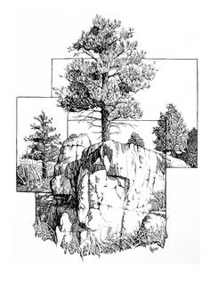 Could make an awesome black and white tattoo-- Ponderosa Triptych by outsidelogi. - Could make an awesome black and white tattoo– Ponderosa Triptych by outsidelogic.devi… on devia - Architecture Drawing Sketchbooks, Architecture Sketches, Architecture Portfolio, Concept Architecture, House Architecture, Illustration Tattoo, Ink Illustrations, Landscape Sketch, Landscape Drawings
