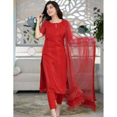 Salwar Suits : Red thread and sequence work salwar suit Party Wear Lehenga, Bridal Lehenga Choli, Embroidery Designs, Bollywood Lehenga, Lehenga Style, Kurti Collection, Designer Salwar Suits, Red Suit, Indian Fashion Dresses