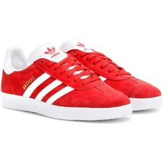 Adidas Originals Gazelle Suede Sneakers ($115) ❤ liked on Polyvore featuring shoes, sneakers, red, red trainers, red sneakers, red shoes, adidas originals and suede leather shoes