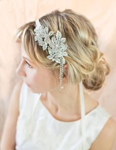 Vintage Style Bridal Hairband, Gatsby 1920s Pearl Hairband, Bridal Crystal Headpiece, Deco Flapper Headband, Wedding Hairband - 'MILA'