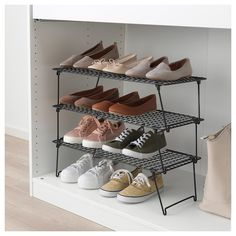 IKEA - GREJIG, Shoe rack, Just as practical for everyday shoes in the hallway as for fancy shoes in the wardrobe. And since the rack is foldable, you can have some extra racks in the hallway closet that you can unfold and stack when you have guests. Shoe Rack Bedroom, Shoe Rack Closet, Diy Shoe Rack, Cheap Shoe Rack, Shoe Racks, Shoe Organizer, Closet Organization, Over Door Shoe Rack, Ikea Overlays