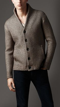 """Burberry London Shawl Collar Knitted Cardigan."""