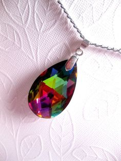 Vitrail Glass Crystal Necklace  Faceted  by FashionCrashJewelry