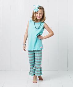 Look at this RuffleGirl Robin's Egg Blue Stripe Capri Pants Set - Infant, Toddler & Girls on #zulily today!