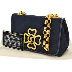 RARE-Auth-CHANEL-Quilted-CC-Logos-Chain-Shoulder-Bag-Navy-Canvas-Vintage-AK04279