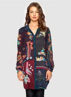 Multi Embroidered Tunic The Johnny Was MULTI EMBROIDERED TUNIC is a bohemian statement piece! This button-down tunic features unique, colorful embroidery designs on rayon georgette panels in rich autumnal hues. Layer this embroidered tunic over jeans or leggings now, then wear it over a silk slip dress with sandals in warmer weather!  - Rayon Georgette - Traditional Collar, Full Button Front, Long Sleeves, Split Hem, Tunic Length - Signature Embroidery - Care Instructions: Machine Wash…