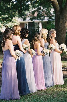 Bridesmaids in different purple dresses, light purple, lilac,dark purple... https://www.facebook.com/DreampurpleUK