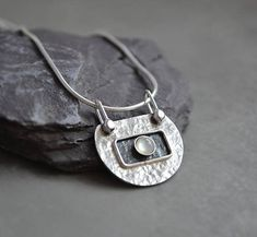 Silver pendant with mother of pearl. Sterling silver necklace.
