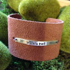 2 suede leather hand stamped inspirational by mythreemonkeysgifts