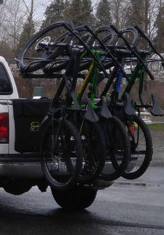 Focus on the ride, not the ride there. Vertical Bike Rack, Diy Bike Rack, Motorised Bike, Bike Trailer, Bike Life, Van Life, Mountain Biking, Jeep, My Style