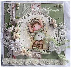 Tilda Card created by LLC DT Member Becky Hetherington, using papers from Maja Design's Life in the Country collection.