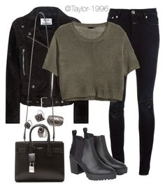 """""""ripped jeans"""" by taylor-1996 ❤ liked on Polyvore featuring Forever 21, Acne Studios, Closed, Yves Saint Laurent, H&M and Monki"""