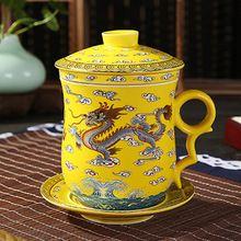 Jingdezhen taza dragón 4 unids conjunto taza de cerámica con tapa filtro de reunión de la oficina personal de té de porcelana tazas de té elegante(China (Mainland))