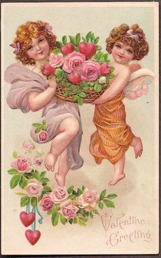 Valentine's Vintage Embossed Postcard - Cupids with Basket of Roses and Hearts